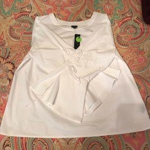 Worthington Woman 1X Tie Up Long Sleeve White Top